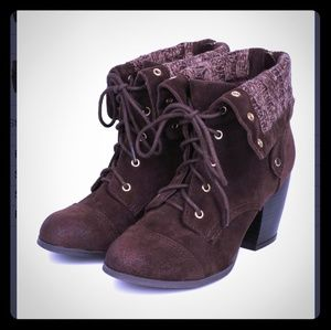 Charlotte Russe | Brown Suede Foldover Knit Boots